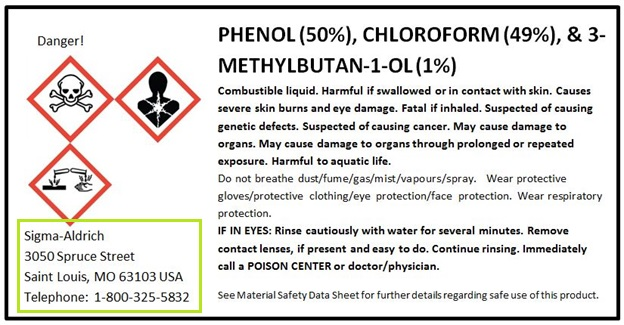 GHS Container Label Supplier Identification Phenol